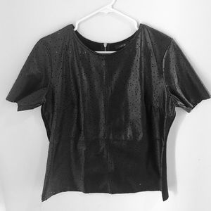 Apt 9 black faux perforated leather ss top